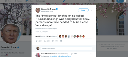 Trump sneering the Intelligence at a later date